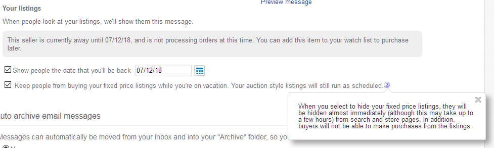 Keep People From Buying While On Vacation The Ebay Canada Community