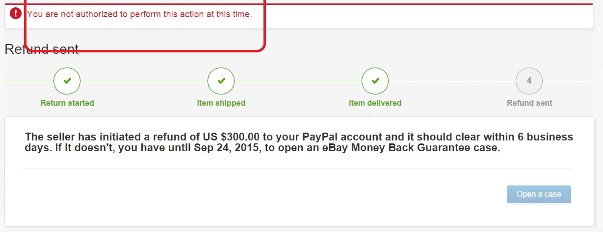 I returned item but Paypal refund did not complete    - The