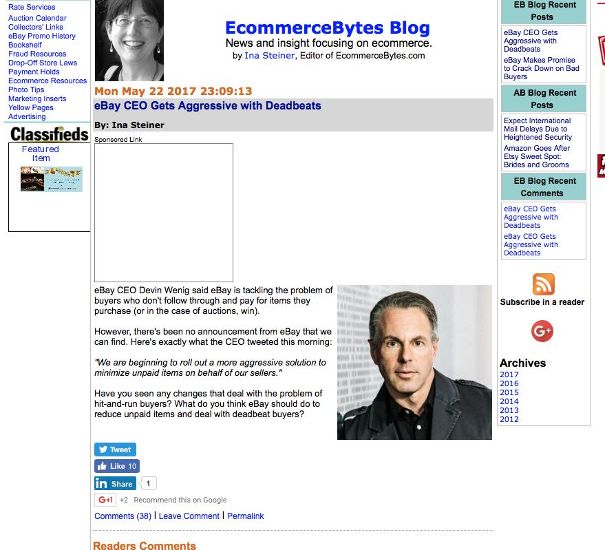 Ebay CEO Gets Aggressive With Deadbeats' - The eBay Canada Community